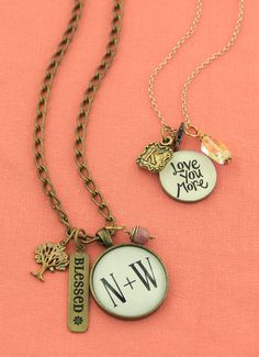 Great Valentine options. Custom charm necklaces by Initial Outfitters www.initialoutfitters.net/JILLBARR/
