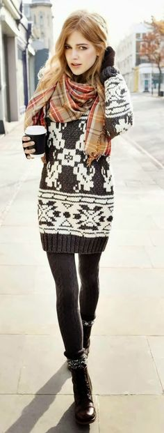 Like the Sweater dress ensemble, wool tights, and boots- not the scarf.,, every outfit doesn't need a scarf- jd