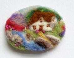 Needle felted brooch, pin, wool, 'River Cottage', spring, valentine gift, landscape artwork IWANTCRAFT