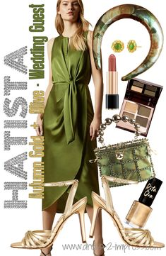 Gold and Olive Green outfit inspirations. What colours to wear with Olive Green. Wedding guest outfit ideas. Velvet Padded Headband. Winter Wedding Guests, Autumn Wedding, Green Wedding, Wedding Guest Hair Accessories, Winter Fashion Outfits, Autumn Fashion, Fashion Tips, Fall Wedding Outfits, Wedding Shoes