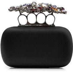 ALEXANDER MCQUEEN Satin Embellished Knuckles Clutch ($2,575) ❤ liked on Polyvore featuring bags, handbags, clutches, satin clutches, embellished purses, embellished handbags, knuckle handbag and alexander mcqueen handbags