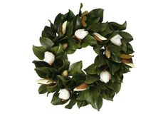 white magnolia wreath