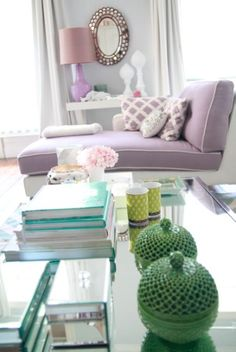 Lovely living space. Purple, mint green and other light and airy pastels make this living room beautiful. Pale hues introduce a fresh, yet s...
