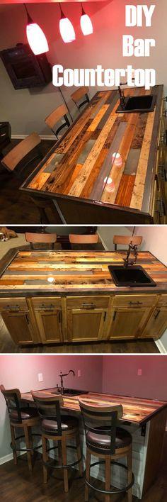 DIY Bar Countertop made from materials. DIY Bar Countertop made from materials. Woodworking Shows, Woodworking Garage, Woodworking For Kids, Woodworking Workshop, Woodworking Crafts, Router Woodworking, Woodworking Patterns, Woodworking Techniques, Woodworking Supplies