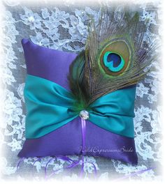 Wedding RING BEARER Pillow Ringbearer Peacock Feathers CUSTOMIZE Your Colors Plum Teal