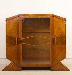 Antique Art Deco Satinwood Maple Display Cabinet c.1920