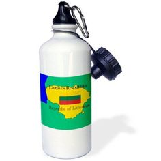 3dRose The map and flag of Lithuania with the Republic of Lithuania printed in English and Lithuanian, Sports Water Bottle, 21oz