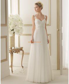 Robe de mariée 2014 évasée tulle bretelles appliqué dentelle
