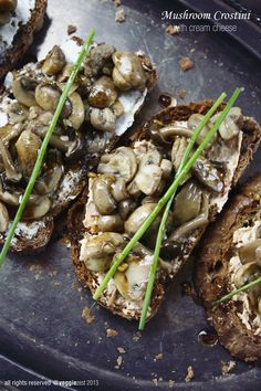 mushroom crostini with cream cheese