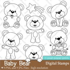 Baby Bear  Digital Stamps by pixelpaperprints on Etsy, $5.00