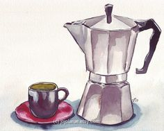 Espresso Maker with Cup Watercolor Art Print 8x10 by jojolarue, $15.00