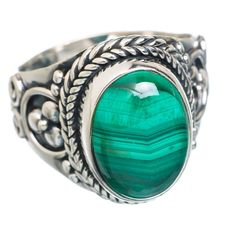 Malachite 925 Sterling Silver Ring Size 7.5 RING766383