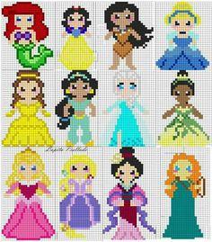 Billedresultat for mini princesse pixel art Melty Bead Patterns, Pearler Bead Patterns, Perler Patterns, Beading Patterns, Crochet Patterns, Cross Stitch Pattern Maker, Disney Cross Stitch Patterns, Cross Stitch Designs, Perler Bead Disney