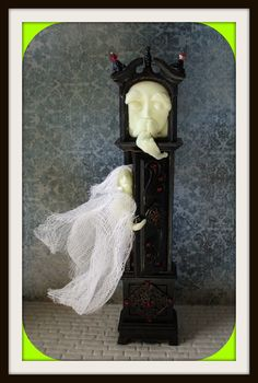 Gothic Witch Haunted Wizard Halloween Grandfather Clock Time Keeper Dollhouse…