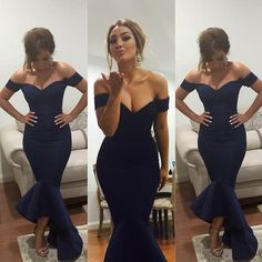 Navy Blue Evening Dresses Mermaid Off Shoulder Celebrity Dresses Arabic Dress Bridal Gowns Party Prom Tea Length 2016 Myriam Fares Evening Dresses For The Fuller Figure Evening Dresses Formal From Weddingdress2000, $78.33| Dhgate.Com