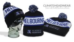 New warm, stylish beanies for Melbourne University. Check out the detail on the patch!