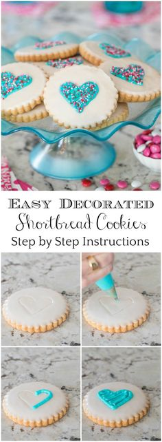 These delicious, Easy Decorated Shortbread Cookies are showstoppers - perfect for weddings, Valentines or just to say I love you! via @cafesucrefarine