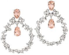 Brumani Sissi Collection morganite and diamond earrings. Via Diamonds in the Library.
