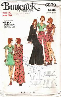 Betsey Johnson pattern, 1970's...I made the green dress in 1975 out of emerald green polished cotton. Loved that dress! bjh
