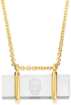 Alexander McQueen Skull-Etched Acrylic Pendant Necklace on shopstyle.com