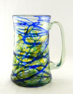 Hand Blown Art Glass Beer Mug Yellow/Green Colored by MOODYGLASS, $35.00