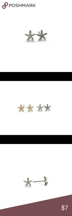 Starfish Stud Earrings, Silver Finish, Sephene Starfish Stud Earrings Take this earrings to your summer vacation or wear them to reminds you a beautiful beach days.  Dimensions: 7 mm x 7 mm  Materials Earring: zinc alloy, NO lead and NO nickel Post: stainless steel Jewelry Earrings