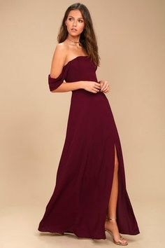 Lulus - You'll be an absolute vision in the J.O.A. Veronique Burgundy Off-the-Shoulder Maxi Dress! Woven poly is light and breezy across off-the-shoulder sleeves and a strapless bodice, with princess seams and no slip strips. High, fitted waist extends into a slit maxi skirt. Hidden back zipper/clasp. #clubdresses