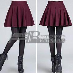 Sexy Women's Stretch High Waist Plain Skater Flared Pleated Casual Cotton Mini short Skirt 2016 Fashion