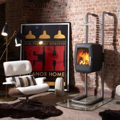 images of rooms with modern wood stoves | Nordpeis Smarty Rail | Low Prices | Free Delivery