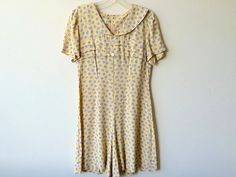 Vintage Yellow Floral Dress/Romper by Baxtervintage on Etsy