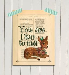 Baby Deer art print Woodland creature Doe poster print Typography print You are Dear Love quote Nursery wall decor Baby gift Giclee print