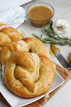 Roasted Garlic, Rosemary, and Cheddar Stuffed Pretzels