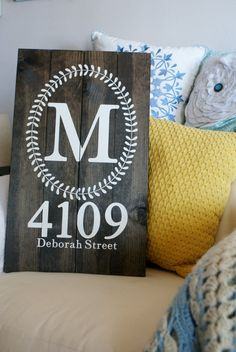 12 X 24 Handmade stained wood sign with painted monogram, laurel wreath, and address Pallet-style planks Please leave instructions for initial and address House Address Sign, Address Plaque, Address Numbers, Monogram Painting, Painted Monogram, Diy Signs, Home Signs, Wooden Diy, Wooden Signs