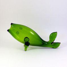 Blenko Green Fish Vase
