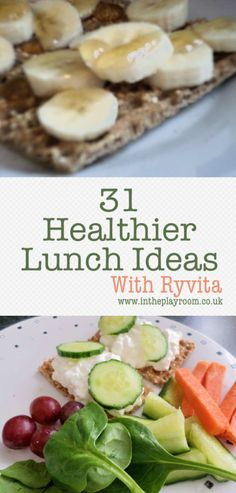 31 Ideas for healthy lunches. Topping ideas for what to put on Ryvita, or other crackerbreads