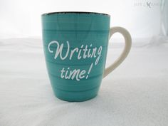 Blue Writing Time Mug - Writer Gift - Coffee Mug - Hand Painted
