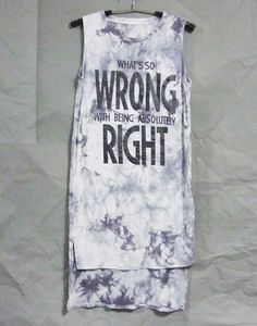 Size S small old grey wrong right quote shirt tie by WorkoutShirts