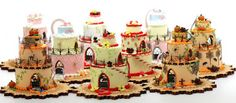 Cake Houses by Ruth Stewart being displayed at the Good Sam Showcase of Miniatures