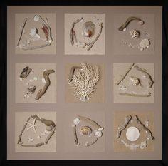 Tableau composition marine Nature 100 cm cendre brune - Coc'art Créations