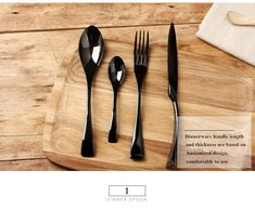 24-Piece Glossy Black Stainless Steel Flatware Cutlery Set For 6