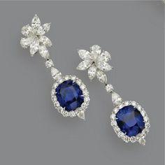 sapphire and diamond pendant-earrings