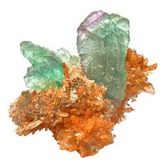 Orange Creedite cluster with elongated green FluoriteNavidad Mine, Mexico / Mineral Friends <3