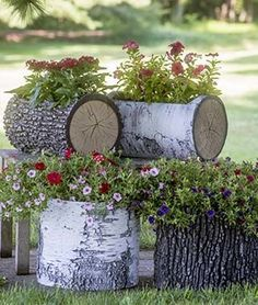 Faux Log Planters - Take your garden to a new level with these faux birch and oak log planters. Shop now: http://www.burpee.com/gardening-supplies/containers/surreal-faux-log-planters-prod099969.html