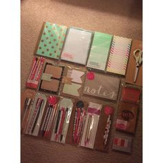 Target One Spot Planner Stationary Bundle Lot Lot of 19 different total items. What you see in the photos is what you will receive. All items are sold as is. All items are new and in plastic. No pens have been tested and no packages have been open. Many different items such as sticky notes, page flags, list pads, spiral notebooks, journal, scissors, mechanical pencils, and pens. All items are discontinued. Other