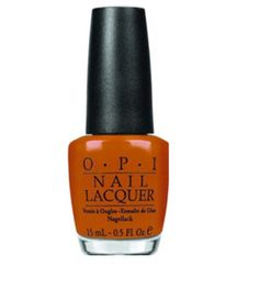 The only burnt orange nail polish you need to know about is OPI's 'Chop-Sticking To My Story.'  This creamy orange is a must have!  (Reminds me of Texas longhorns orange too, btw) ~ Tried it from the nail salon. LOVE IT!!!