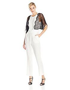 4653e2b7a0c3 Amazon.com  BCBGMAXAZRIA Women s Brigitta Lace Appliqued Kimono Sleeve  Jumpsuit