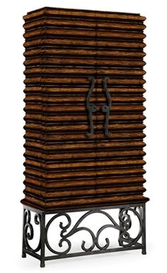 Jonathan Charles Wood Wine Cabinet with Wrought Iron Base Countryside Style, Luxury Dining Room, Wine Cabinets, Lamp Bases, Dining Room Furniture, Wood Design, Dining Set, Wrought Iron, Rustic
