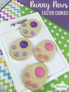 If you enjoy making cute Easter treats, these Bunny Paw Cookies will be right up your alley! Get the kids in the kitchen for this Easter dessert recipe!