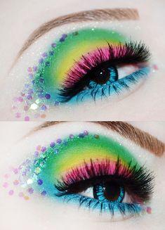 Rainbow Eye Makeup with Glitter Maquillage Halloween, Halloween Makeup, Pretty Makeup, Makeup Looks, Sugarpill Cosmetics, Eyeshadows, Fantasy Make Up, Fantasy Hair, Rave Makeup