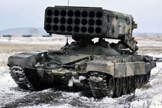 TOS1A flame tank. Mounted on T-72 chassis. It can fire twenty four thermobaric (fuel-air explosive) rockets.